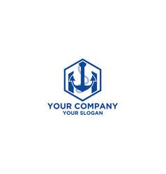 Anchor h logo design vector