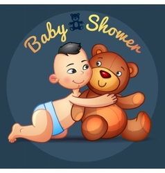 Asian baby boy with hugs Teddy Bear toy on a grey vector