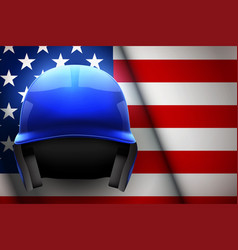 baseball helmet and american flag vector image