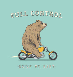 Bear is riding on motorcycle vector