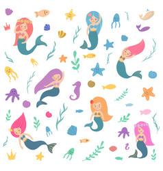 beautiful and cute mermaids vector image