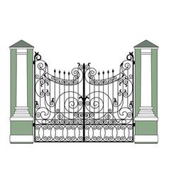 Black wrought iron gates vector