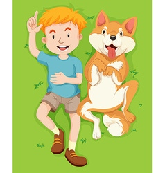 Boy and pet dog lying on grass vector
