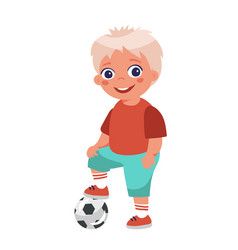 boy soccer player posing put his foot on ball vector image