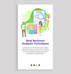 business analytics technique workers stats web vector image