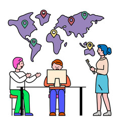 business meeting and geographic location pointers vector image