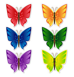 butterflies stickers set vector image