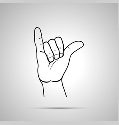 Cartoon hand in shaka gesture simple outline icon vector