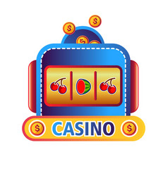 Casino online service promo emblem with fruit vector