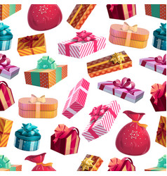 christmas winter gifts seamless pattern vector image
