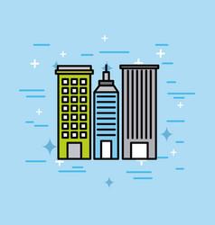 city buildings town architecture scene vector image