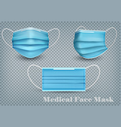 Collection a blue medical face masks isolated vector