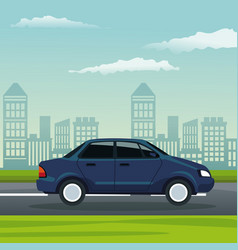 Color background city landscape with automobile vector