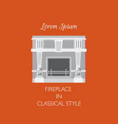 Colorful classical fireplace isolated vector