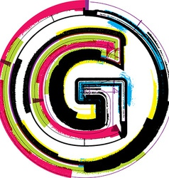 Colorful grunge font letter g vector