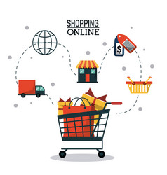 Colorful poster shopping online with shopping cart vector