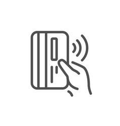Contactless payment card line icon money sign vector