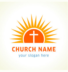 Cross on sun church name vector
