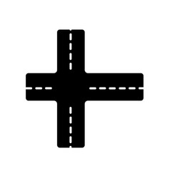 Crossroad black glyph icon intersection roads vector