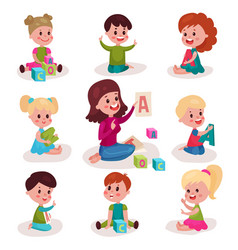 cute little boys and girls learning letters with vector image