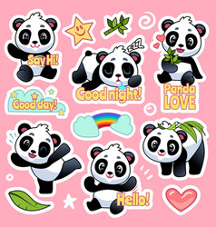 Cute panda stickers happy bears expression for vector