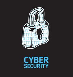Cyber security safety conceptual poster design vector