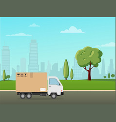 delivery truck on landscape city flat style vector image