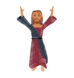 drawing jesus christ prayer design vector image