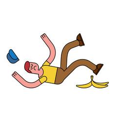Fall on banana slip on banana peel guy flopped vector
