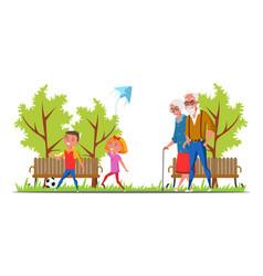 Family walk in park flat vector