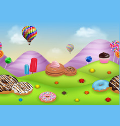 fantasy candyland with dessrts and sweets vector image