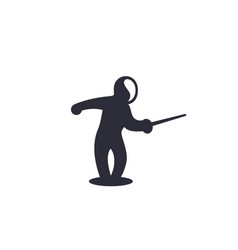 Fencing icon attacking fencer with sword vector