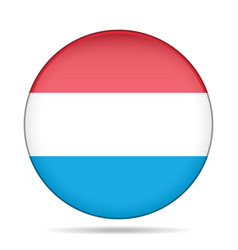 Flag of luxembourg shiny round button vector