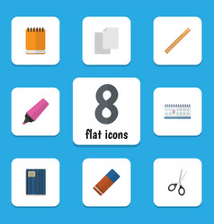 flat icon stationery set of rubber straightedge vector image vector image