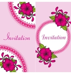 Floral invitation card with bright flowers vector