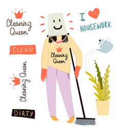 Fun cleaning lady or housekeeper or a woman doing vector