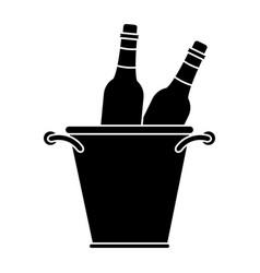 Glass bottles wine bucket pictogram vector