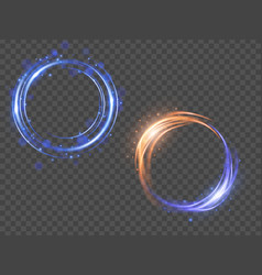 glow light effect magic round frame vector image