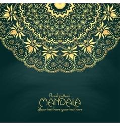 Golden mandala pattern design template Vintage vector image