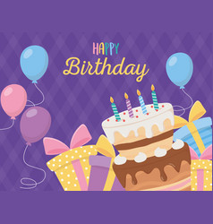 Happy birthday cake candles gift boxes balloons vector
