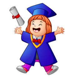 happy graduation girl cartoon vector image