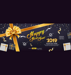 Happy new year sale banner cover template design vector