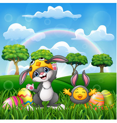 happy rabbit and chicken cartoon in costume with e vector image