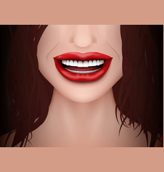 Healthy teeth white smile woman close up vector