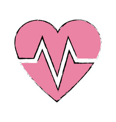 Heart beat healthy sport care symbol vector