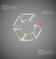 Hexagonal infographic consits of lines on dark vector