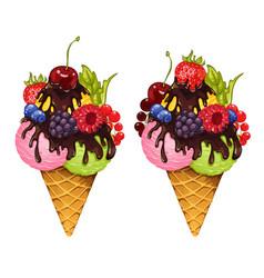 ice cream and fresh berries white vector image