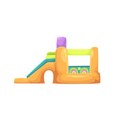 Inflatable bouncy castle in amusement park vector
