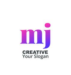 Initial letter mj lowercase design logo template vector
