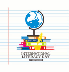 international literacy day poster with pile of vector image